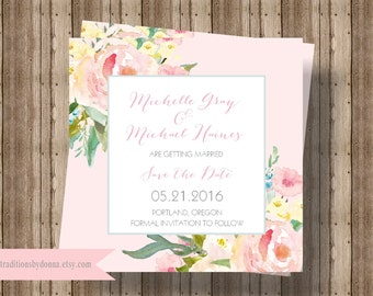 SAVE THE DATE Cards Blush Pink Watercolor Floral | Beautiful Shabby Chic Save the Date Card  | Blush Rustic Watercolor Save the Date Printed