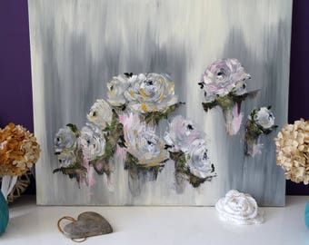 Modern oil painting, bouquet painting, original flower painting,  rose painting, flower art, canvas painting, plant painting, wall art, deco