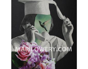 One of a Kind Paper Collage,  8.5 x 11 Inch Surreal Wall Art with Hummingbird and Flowers Graduation Gift, Retro Art, frighten