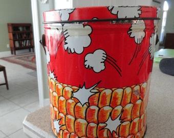 Tin Popcorn Pail Tin Bucket  Vintage The Popcorn Factory