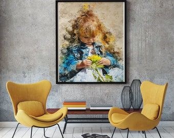 Sunflower Girl Watercolor Print