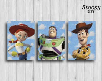 toy story poster set of 3 toy story wall art woody buzz lightyear jessie toy story nursery disney decor