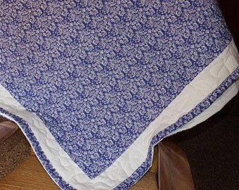 Blue Sapphire Damask Quilt, Large Throw Quilt, Ready To Ship Quilt, FREE US Shipping