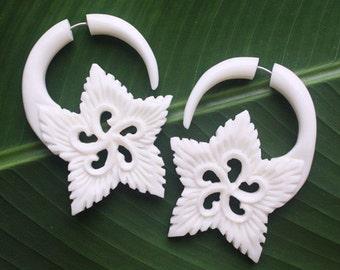 Fake Gauge Earrings - EDEN Flower - Hand Carved Natural White Bone