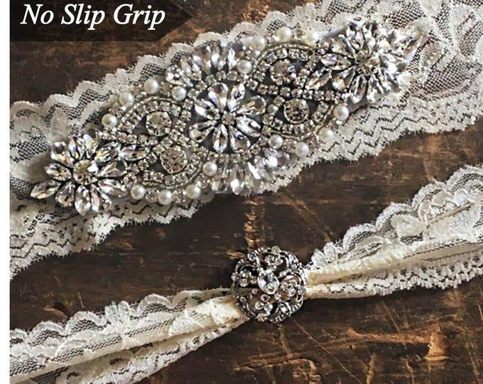 Wedding Garter Set NO SLIP grip rhinestones, bridal garter set, garter A01S-A19S