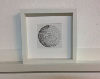 Planet. Pen and Ink.  Original framed artwork. Planet Illustration. Planet drawing. Astronomy Artwork