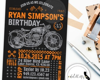 Motorcycle invite motorcycle birthday motorcycle party motorcycle birthday party invitation chalkboard invite harley invitation orange black printed or filmwisefo Image collections