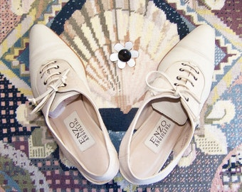 Slingback Heels, lace up heels, designer shoes,  Enzo Angiolini, Lace up pumps, Gatsby shoes, bone shoes, size 6 m