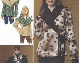 Womens Reversible Wrap Jackets 2 Collars OOP Butterick Sewing Pattern B5424 Size 16 18 20 22 24 Bust 38 40 42 44 46 UnCut Plus Size