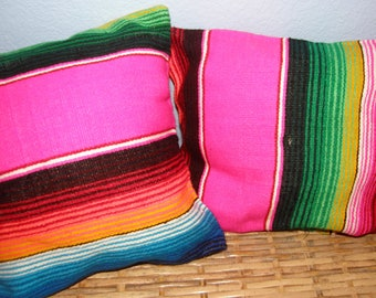 """Pair of Hot Pink Mexican Pillows, Made from serape fabric - 10"""" - Girly events, weddings, decorating"""