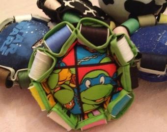 TMNT - Custom Pincushion with mini-spools of thread. Teenage Mutant Ninja Turtles