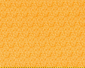 By The HALF YARD - Friendship Garden by Kathy Davis for Fabric Traditions, Pattern 12910-O Tonal Outlinged Light Orange Roses on Orange
