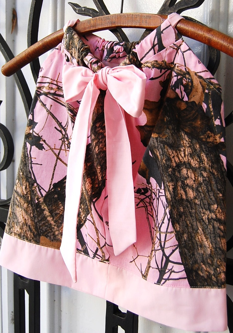 Baby girl camo dress. Made from Pink Mossy Oak Camo Baby.