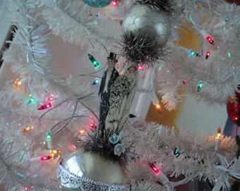 Edwardian bride and groom christmas tree ornament