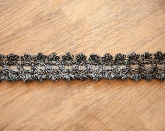 3 yards Black Silver Metallic - Vintage Trim Juvenile 60s 70s New Old Stock Fun Geometric Bling Woven