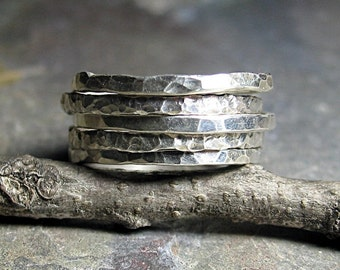 Stacking Rings Sterling Silver Hammered Textured Skinny Rustic - Organic Skinnies Set of Five