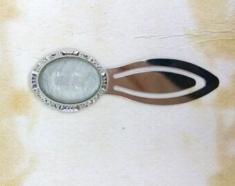 Holographic Style Glass Cabochon Clip Bookmark Silver Tone