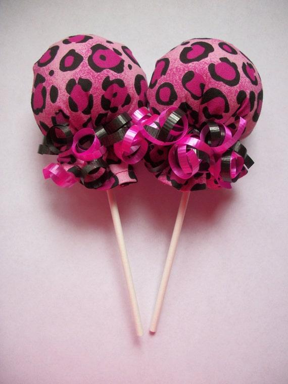 Pink Black Cheetah Print Scratch Mitten Lollipops Baby Shower