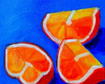 Orange Slices on Blue Original Oil Painting