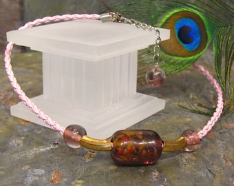 """SALE - Pink Purple Brown Recycled Glass ~ Beach Necklace ~ Braided Leather - adjustable 16-18"""""""