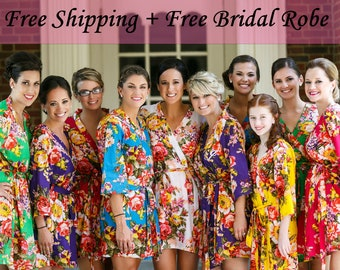 Set of 10 Bridesmaid Robes, Bridesmaids Robe Set of 5, Bridesmaids Robe Set of 6, Set of 7, Set of 8, Set of 9 Bridesmaid Robe Free Shipping