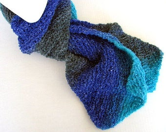 Blue Unisex Diagonal Knit Scarf Free US Shipping