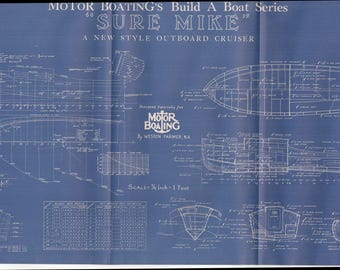 Vintage Motor Boat Ship Blueprint c.1940s Outboard Cruiser Nautical Art Urban Industrial Decor