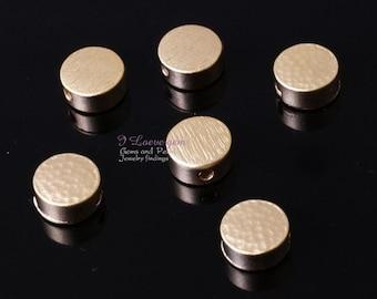 Matt Gold plated, Pewter, 8mm Disc metal beads, 4pcs