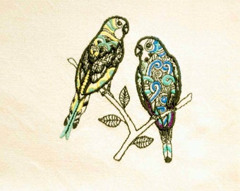 Parakeets Tea Towel | Bird Kitchen Towel | Embroidered Kitchen Towel | Embroidered Towel | Personalized Kitchen Towel | Embroidered Gift
