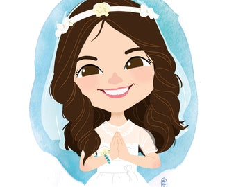 CHILD/BABY CARICATURE-  digital file- perfect for First Communion, birthdays, Christmas, nursery deco, Father's and Mother's Day...