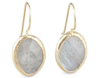 Grey Petite Oval labradorite stone Earrings, gold dangle earrings, grey labradorite stone earrings, grey oval earrings, gifts for her