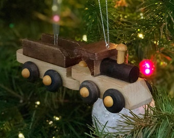Wooden Toy Set Ornaments, Train Set, Bi-Plane, Helicopter, Dump Truck and Bulldozers