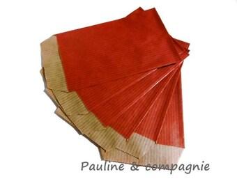 25 Red 7 kraft gift bags x 12 cm