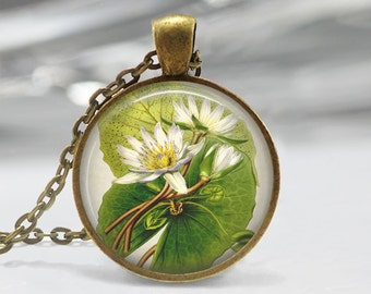 Flower Art Pendant, Botanical Lily Pad Pendant, Flower Necklace, Botanical Art Jewelry, Lily Art Pendant, Bronze, Silver, White Flowers FL04