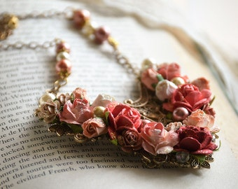 Coral Rose Necklace, Statement Necklace, Flower Necklace, Filigree Necklace, Bridesmaid Jewelry, Gift for Her, Bridal Jewelry, Gift for Mom