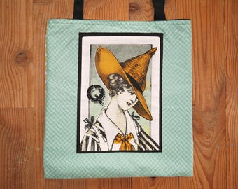 "Tote Bag, cotton bag ""Queens for Halloween, October 31 in yellow, green and black"""