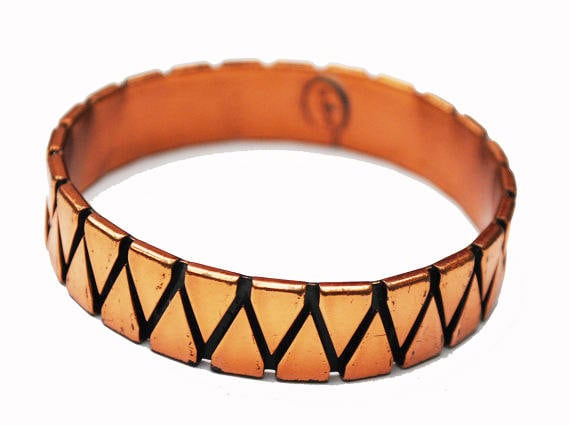 Renoir Copper  Bangle  -Abstract Triangle - Modernistic - Mid century Mod - Signed  Bracelet