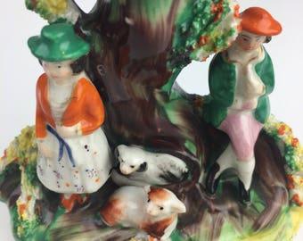 Vintage ceramic bud vase with figurines, Vintage home decor antique porcelain ceramic