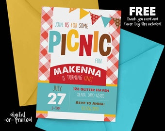 Picnic Birthday Invitation, First Birthday Invitation, Picnic Birthday, 1st Birthday Invitation, Rainbow birthday, park first birthday