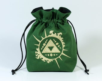 Sunburst Triforce Dice Bag, Drawstring Bag