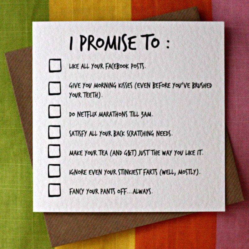I Promise To Funny Love Card Funny Valentine Card Funny