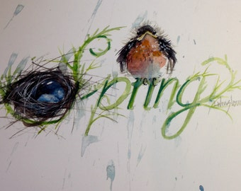5 Spring Watercolor cards
