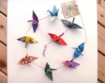 Hanging Origami Crane Chain of 9 - FREE SHIPPING - with vibrant colorful renewed paper #c214 marlisa