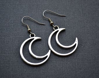 Silver Crescent Moons . Earrings