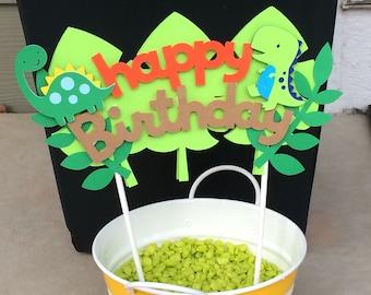 Dinosaur Happy Birthday Cake Topper