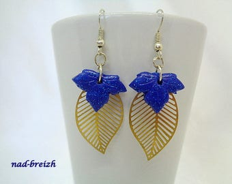 "Earrings Fimo polymer clay ""Small leaves of maple leaf gold print"" blue glitter - handmade"