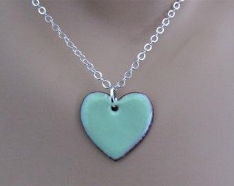 Robin's Egg Blue Heart Enamel Sterling Silver Necklace
