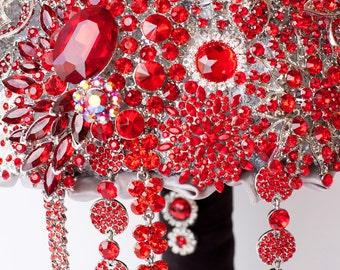 Brooch Bouquet. RED crystal Bouquet, Unique Wedding Bridal Bouquet