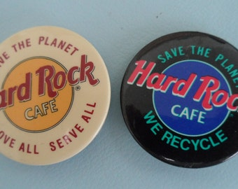 Two Hard Rock Cafe Pins - Save the Planet - Love All Serve All - We Recycle - Vintage Pins - Excellent Condition