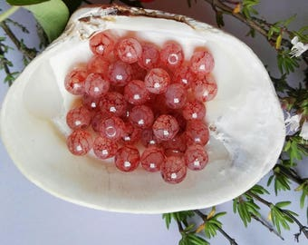40 Rose Pink Veined Glass Round Beads 6mm